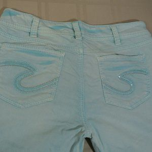 SILVER SUKI CAPRI 31 x 26 Women Teal Stretch Jeans